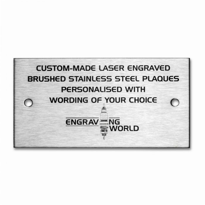 127mm x 38mm Brushed Stainless Steel Personalised Laser Engraving Plaque Sign